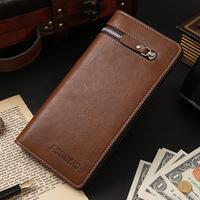 New arrival Vintage Leather Men's Wallet designer's Cowhide Purse zipper card wallet Long wallet free shipping