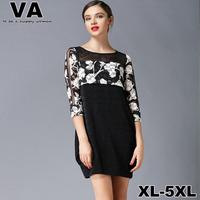 women new 2015 spring Floral Print Casual Patchwork Black Gauze Mini Round Neck Novelty vestido plus size dress xxxl 4XL 5XL P