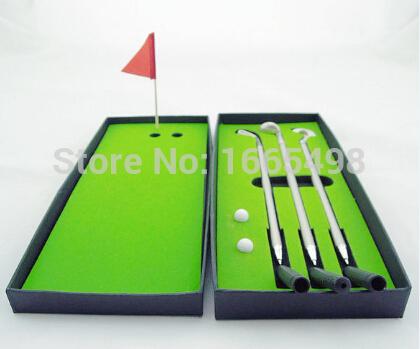 Mini Golf Clubs Models Ball Pen Golf Balls Flag Set Gift black box(China (Mainland))
