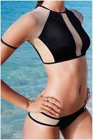 Free Shipping 2015 New Hot Sale Fashion Women Sexy Mesh Insert Rashguard Bikini Swimwear Size S/M/L NA41002