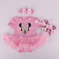 3pcs/Set Minnie Mouse Newborn Baby Christening Gift Photography Props Girls Clothing Set Headband+Bodysuit / Romper+Shoes