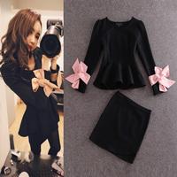 2015 Korean High Quality Office Career Cute Set Suits Women's Black Long Sleeves Pink Bow Ruffle Top + Sheath Skirt