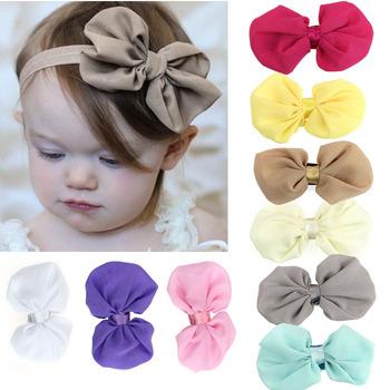 Amazing 2015 New 9PCS Babys Girls Chiffon Flower Elastic Headband Photography Headbands Hot