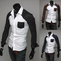 Free Shipping Men'S Long-Sleeved Shirt Slim Stitching Design Of High-Quality Cotton Shirt Fashion Casual Shirt Size M-XXL