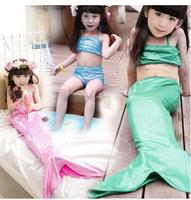 Free Shipping fashion baby girls swimsuit cute mermaid kids swimming swimwear suit children clothes set Tail + Tube Top + Shorts