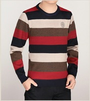 2014 new fashion autumn / winter men's cotton striped long sleeve O-neck thick knitted sweater pullover plus size #009