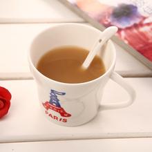 Drinkware supplies 3pcs set Brief design coffe mug with spoon Personality printing tea cups Zakka kitchen