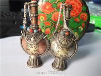 BYH003 Tibetan handcrafted Corss Amulet snuff bottle,Tibet white metal Copper lovely snuff bottle amulet pendant