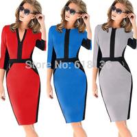 Fashion  Formal Elegant Patchwork Tunic Casual autumn Dress O-Neck  Slim Pencil Bodycon Casual  party Dress,Plus Size S-XXL