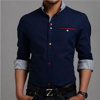5 colors 2015 New Stylish Stripe Men Shirts Patchwork Plaid Men shits Business Long-sleeve Man Dress Shirt M-XXXL Size Plus