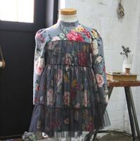 Countryside Wind Girls long sleeve Printing Gauze Princess Dress
