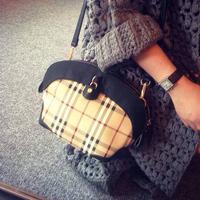 B women's handbag fashion plaid small bags color block women's bag cross-body one shoulder day clutch bag black
