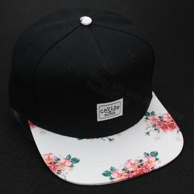 Черный / цветочный регулируемый снэпбэк шапки бейсбол шляпы для мужчины и женщины спорт хип-хоп кость gorras оснастки спиной