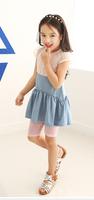 New Summer Puff Sleeve splicing Lace Denim Dress Back  transparent  Blue 5pcs/lot