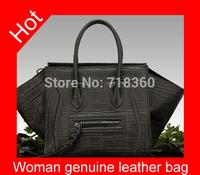 2015  New genuine leather bag fashion women bag trapeze patent leather shoulder bag Messenger bag luxury handbag Free shipping