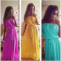 Vestidos High Quality Summer Dress 2014 Plus Size Women Clothing Long Dress Bohemian Chiffon Women Maxi Dress
