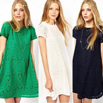 Vestidos Femininos Woman Casual Dress 2015 Summer Short Sleeve O-Neck Plus Size Lace Dresses Vestido De Renda S-3XL WQS062