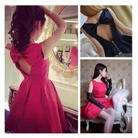 Spring Summer Fashion Dresses Backless Bow Sexy cute Dress Korean Style Sleeveless Casual Slim Women Dress Black Red
