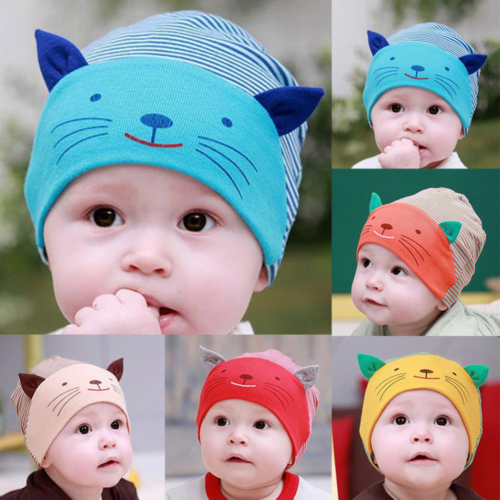 Cartoon Kitten Baby boys&girls Hat Cap Newborn Kids Cotton Beanie Comfortable(China (Mainland))