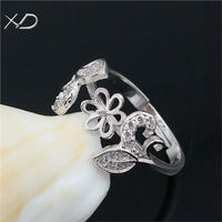 2015 Newest design Sterling Silver adjustable Flower ring mounting,DIY ring setting blanks,wholesale openable ring setting