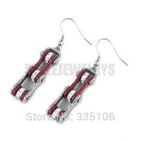 Free Shipping! Red Bicycle Chain Motor Earrings Stainless Steel Jewelry Bling Rhinestone Motorcycle Biker Earring SJE370121L