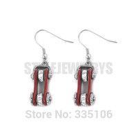 Free Shipping! Red Bicycle Chain Motor Earrings Stainless Steel Jewelry Bling Rhinestone Motorcycle Biker Earring SJE370121