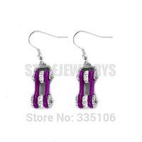 Free Shipping! Purple Bicycle Chain Motor Earring Stainless Steel Jewelry White Rhinestone Motorcycles Biker Earring SJE370125