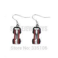 Free Shipping! Red & Black Bicycle Chain Motor Earrings Stainless Steel Jewelry Rhinestone Motorcycle Biker Earring SJE370122