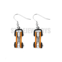 Free Shipping! Orange & Black Bicycle Motor Earrings Stainless Steel Jewelry Rhinestone Motorcycles Biker Earring SJE370126
