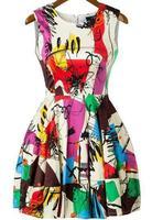 2015 Summer New Designer Multicolor Sleeveless Short Dress Women's Fashion Graffiti Print Flare Dress