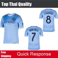 2015 New York City FC Soccer jersey DAVID VILLA LAMPARD Orlando Home blue football shirt 14 15 Soccer New York City 2015