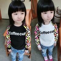 2015 NEW WHOLESALE Anne Anne Baby planning autumn baby leopard sweater children children bottoming shirt R-2105 0.75