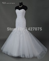 2014 New free shipping Mermaid Lace Tulle Sweetheart Off the Shoulder wedding dress bridal gown custom size