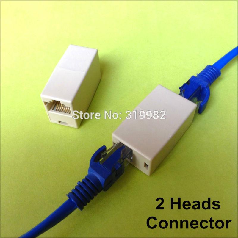 50pcs/lot Crystal RJ45 Plug Cat5E Cat5 Rj-45 2 Heads Lan Network Connector Modular Plug Adapter Internet Cable Extension(China (Mainland))