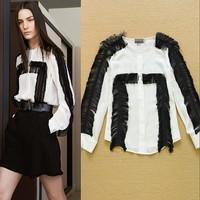 Top Selling 2015 Celebrity Fashion Women's Black Tassel Colorblock Top Chiffon Shirt Blouse SS4610
