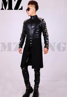 M-4XL ! Men brand fashion DJ nightclub singer Male black rivets diamond stitching leather jacket coat cloth costumes clothing