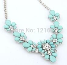 New Women Accessories Statement Necklace Crystal Flower Bib Chunky Choker Collar Pendant Silver Chain Korean Style