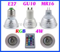 4W RGB E27 GU10 MR16 LED Spotlight Light 16 Colors Changeable LED Light Bulb Lamp +24 Keys Remote For Christmas Decoration
