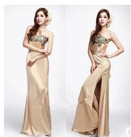 2015 New Open fork long elegant gold club zuhair murad bandage lace up women's formal party dresses Evening dress vestidos