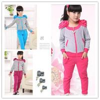 5pcs/lot Wholesale 5-15Years Spring-Autumn-Winter Girls Sports Fashion Children Clothing Set Sports Suits Free Shipping DA598