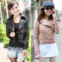 Retail PU Leather zipper Casual Ladies Coat Motorcycle Short Leather Jacket Women Fashion Pink Black Elegent Long Sleeve B16