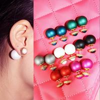 Fashion Jewelry Earrings Hot Selling 2015 new matte Color Pearl Stud Earrings For Women