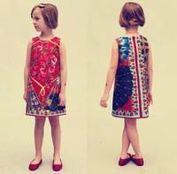 2015 spring & summer original brand Italy designer girl flowers print sleeveless dress baby girls national wind princess dresses