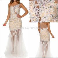 New 2015 Arrival Luxury Elegant One-Shoulder Lace applique Mermaid Champagne Evening Dress Plus Size Wedding Party Dress