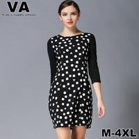 women new 2015 spring Cut Elegant Dot Print Chiffon Black Sheath Round Neck Office Work vestido plus size Dresses xxxl 4XL P