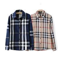 Wholesale women full cotton shirt classic grid spring plaid shirt female models cultivating long-sleeved England shirt blouses