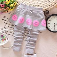 4pc/lot baby girls skirt leggings cotton 2015 kids leggings flower children skirts factory a022