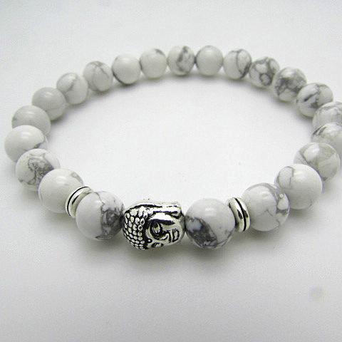 2015 New Natural White Turquoise Stone Beaded Silver Buddha Bracelet Men and Women Girls Bracelets Jewelry(China (Mainland))