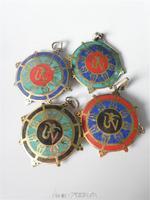 TBP818  Tibetan Brass Golden Mandala OM Amulets,Nepal metal inlaid turquoise pendants Wholesale Tibetan Amulets