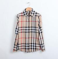 2015 European Brand women's plaid shirt Slim female long-sleeved chiffon blouse women Top collar shirt  CS122